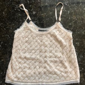 Abercrombie beaded tank top. Fully lined-XXS